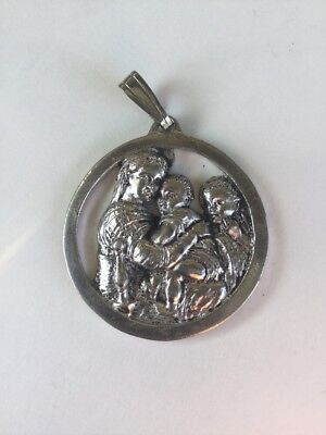 Weston Sterling Silver Pendant Mary Madonna Jesus John The Baptist