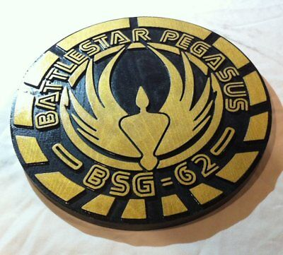 Battlestar Pegasus 3D routed carved wood bar pub prop Galactica Custom