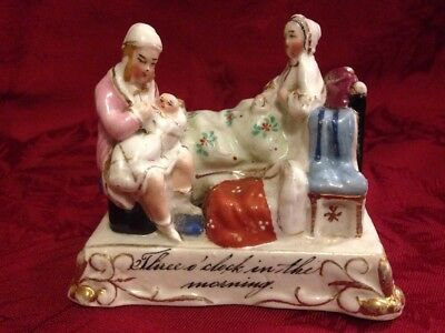 Three O'Clock In The Morning German Porcelain Figurine New Parents And Baby
