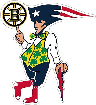 Boston Guy Sports Teams Logo Mash Up Vinyl Decal Sticker celtics red sox bruins