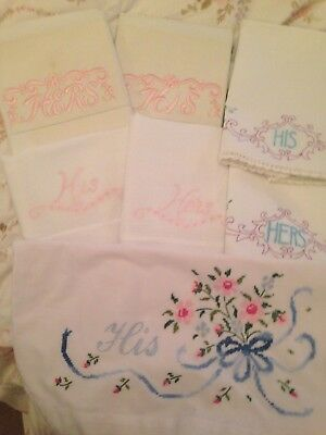 Lot of vintage embroidered His and Her pillowcases - Fun! Cute!