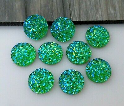 Green 12mm Cabochons 10pc Druzy Resin Cabs Mermaid Dragon Sparkly Cabs  FBC156