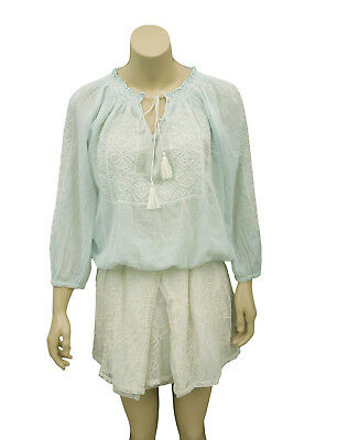 08e80fca1b4e8d 1505 Nw Joie Floral Embroidered Gauze Tie Front Blue Cotton Blouse Tunic Top  S