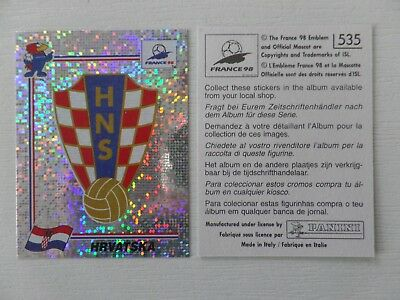 Panini FIFA WC/WM 1998 France Stick. No.535 - Wappen Kroatien / Badge Hrvatska