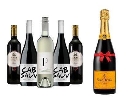 AU 5x750ml Red & White Wines + 1 Free Bottle of  Veuve Clicquot Yellow Label Bru