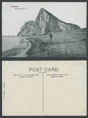 Gibraltar Old Postcard ROCK from N.E. North East Soldier with Gun Beach VB Cumbo
