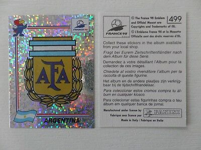 Panini FIFA WC/WM 1998 France Stick. No.499 - Wappen Argentinien/Badge Argentina