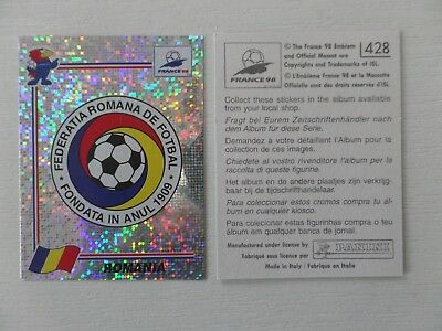 Panini FIFA WC/WM 1998 France Stick. No.428 - Wappen Rumänien / Badge Romania