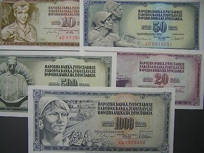 Yugoslavia Lot of 5 Different Notes, All Crisp Uncirculated,