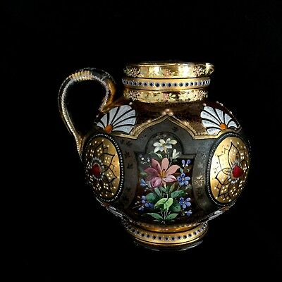 Antique Moser Glass Pitcher, Hand Painted Enamel,gold Glass Jewels Magnificent.