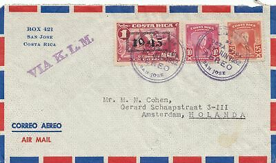 Costa Rica: 1952: San Jose via KLM to Amsterdam - Holland