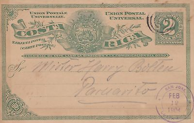Costa Rica: 1904: post card San Jose to Paruarito