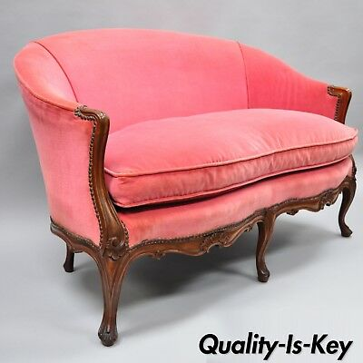 Antique French Louis XV Style Carved Walnut Settee Loveseat Canape Pink Sofa
