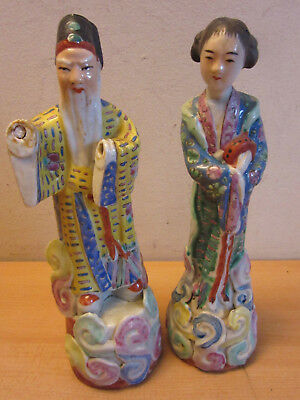 "Pair Antique Chinese Porcelain Man & woman fifures 10"" Marked & signed"
