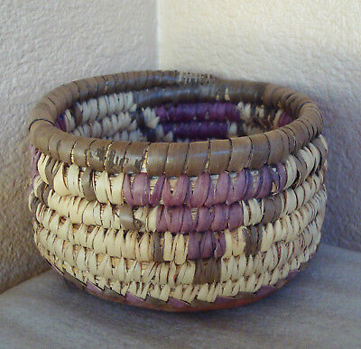 Vintage Native Tribal African Hand Woven Small Basket Bowl w/ Leather Bottom