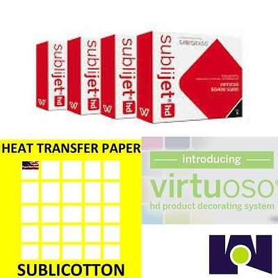 Sawgrass Virtuoso SG400/SG800 Ink Set CMYK Plus 200 sheets of SUBLICOTTON Combo