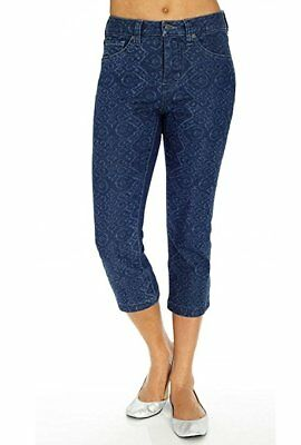 Miraclebody Women's Printed Tummy Slimming Cropped Jeans, Moroccan Blue, 4, NWT