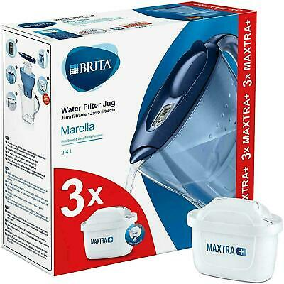 BRITA Marella MAXTRA+ Plus 2.4L Water Filter Jug + 3 Month Cartridges Pack, Blue