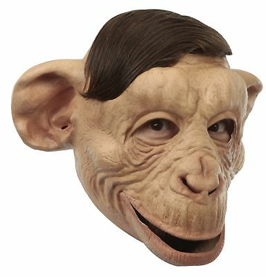 ADULT BROWN BAD CHIMP MONKEY FULL LATEX MASK WITH HAIR COSTUME TB26268
