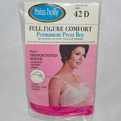 Vintage NOS 42D Miss Holly Full Figure Bra Comfort Permanent Press Bullet Style