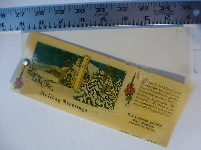 Early Christmas Celluloid Cover With Blotters Evening Leader Lehighton PA 1900's