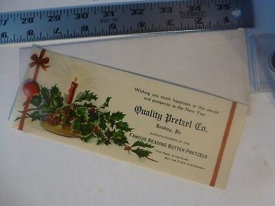 Early Christmas Celluloid Cover Blotter Quality Pretzel Co. Reading PA 1910's