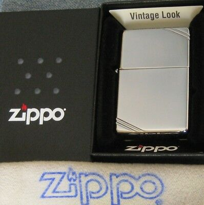 ZIPPO  VINTAGE SERIES  Lighter CHROME With SLASHES  2 SIDED Mint In Box 260 NEW