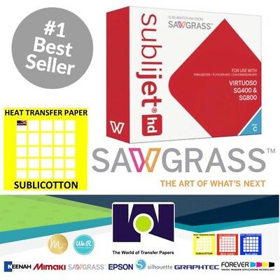 Sawgrass Virtuoso Sublimation Ink Cartridge SG400/SG800 Cyan + 20 Sh SUBLICOTTON
