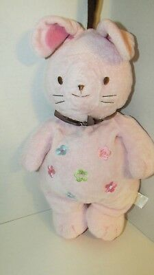Carters plush pink bunny rabbit flowers brown bow musical hanging crib toy
