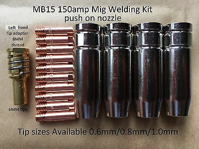 150amp Mig Tips Nozzles & Left Handed Tip Adaptor  Fit most brands 130-200amp