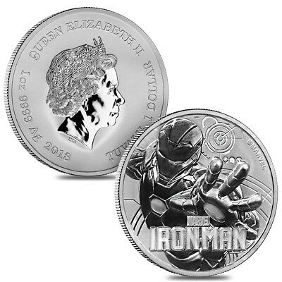 Lot of 2 - 2018 1 oz Tuvalu Iron Man Marvel Series Silver Coin .9999 Fine Silver