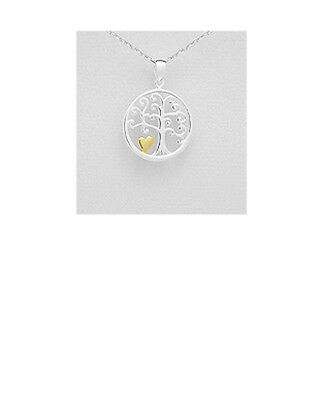 925 Sterling Silver & Yellow Gold Plated Tree of Life & Love Heart Pendant