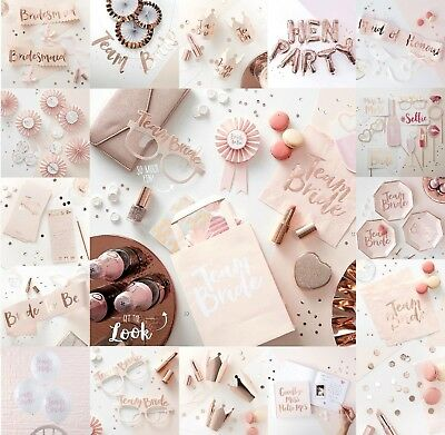TEAM BRIDE HEN PARTY Rose Gold Bride to Be Luxury Party Tableware Decorations