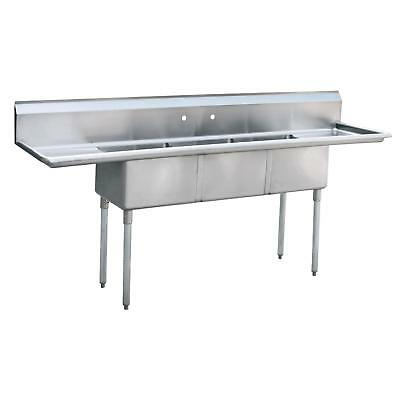"Atosa MRSA-3-D MixRite 18""x18"" 3 Compartment Stainless Steel Sink"