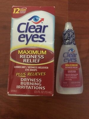2x Clear Eyes Maximum Strength Redness Relief Eye Drops 12 Hrs .5 Oz