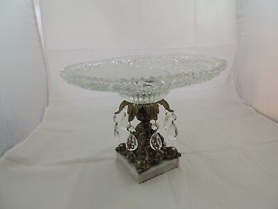 "Vintage Glass pedestal compote bowl marble Base Hollywood Regency 8.75"" Tall"