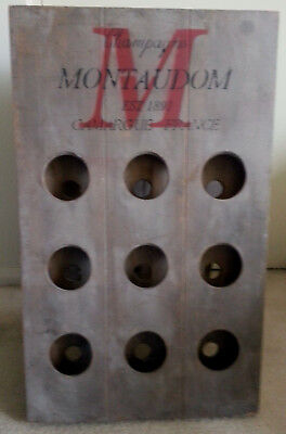 Vintage Rustic Wood 18 Bottle French Champagne/Wine A Frame Holder