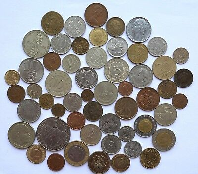Bulk LOT OF 55 assorted World coins/ no duplicates/ mostly Europe 20th century