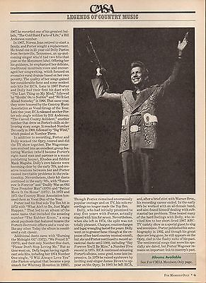 Porter Wagoner 2 Page Magazine Article Clipping 1 Picture Country Music