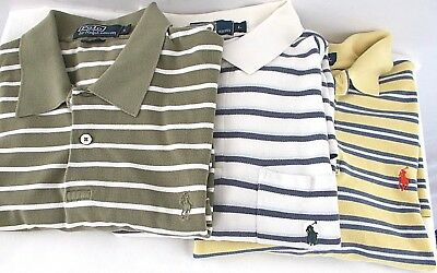 Polo Ralph Lauren Lot of 3 Striped US Men's Large Green White Yellow Polo Shirts