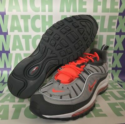 d8808a083a Nike Air Max 98 Wolf Grey Running Shoes Size 10 640744-006 Total Crimson