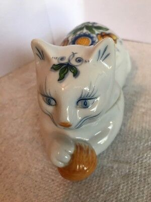 ELIZABETH ARDEN Roma Al Fresco Collectible Cat Ceramic Floral Trinket Box
