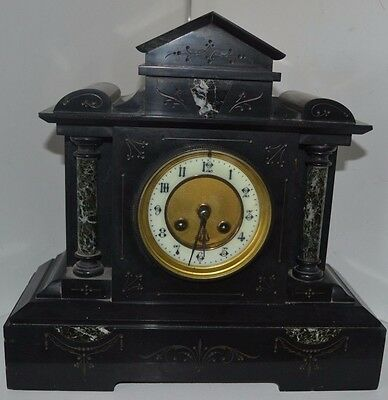 Vintage Paris Marble Pillars Clock Porcelain Face Mantel