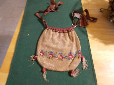 Dated 1834 Beaded Purse With Fabric Liner And Two Straps Of The Same Bead Flower