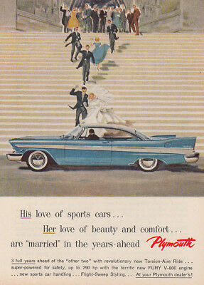 1957  Plymouth: His Love of Sports Cars, Married Vintage Print Ad