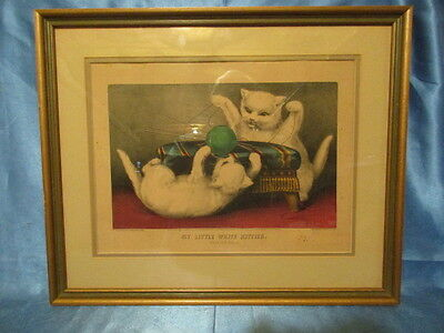 """9110 – MY LITTLE WHITE KITTIES ~ """"PLAYING BALL"""" ~ CURRIER & IVES 1870 ~ Original"""