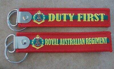 Duty First Royal Australian Regiment  Key Tag 25Mm X 125Mm With Ring Infantry