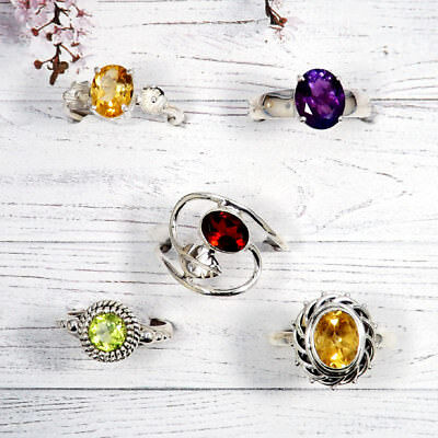 Wholesale 5 Pcs. Value Pack 925 Sterling Silver Gemstone Multi Design Women Ring