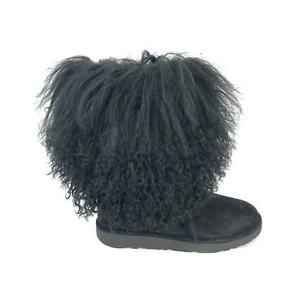 4366be716 Ugg Lida Mongolian Sheepskin and Suede 1017516 Black Woman's Boots Size 6