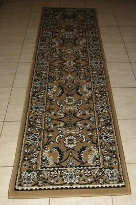New Beige Traditional Persian Design Floor Hallway Runner Rug 67X230Cm